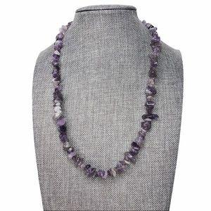 Amethyst Chip Genuine Stone Necklace